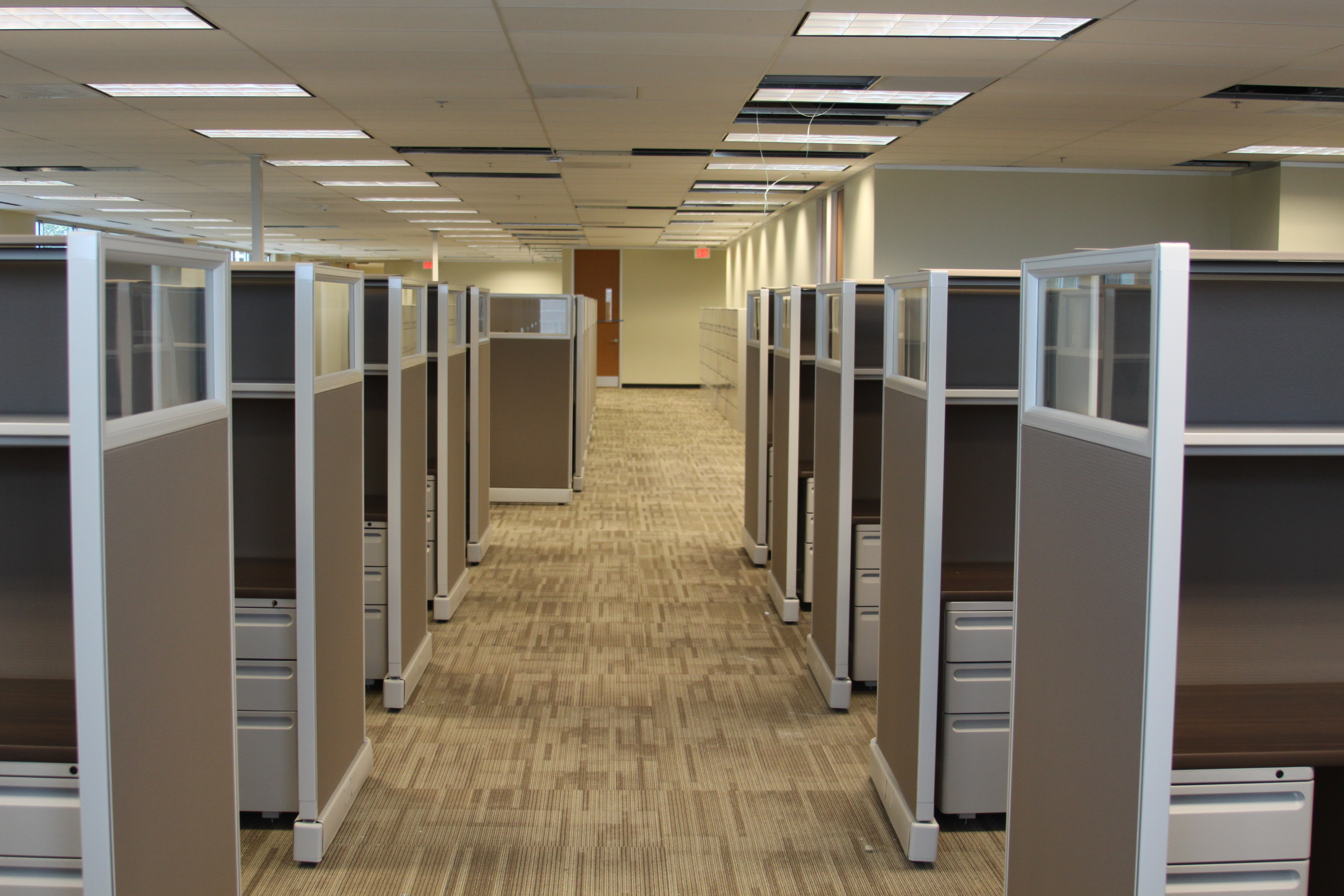 Pictured: Walkway Through Herman Miller Refurbished Cubicles With Clear  Lexan Toppers And Shown Custom Walnut Laminate With 1 BBF Box Box File.